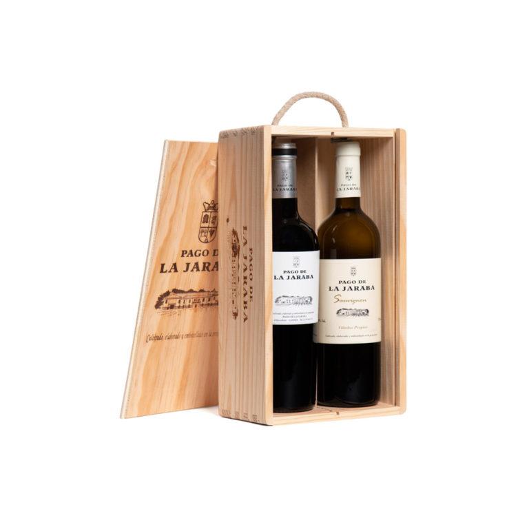 Estuche de vino en caja de madera